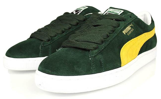 puma suede classic green yellow