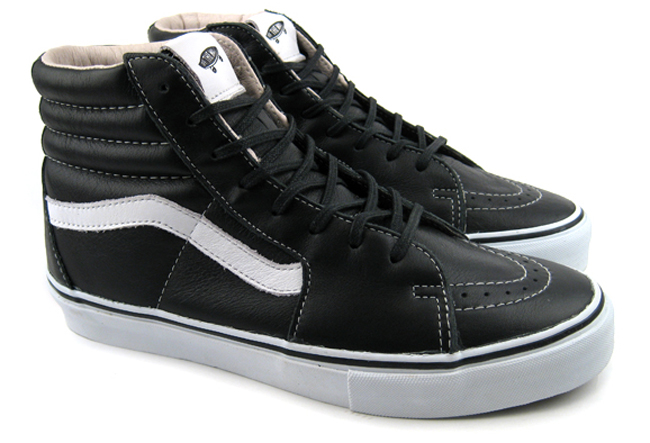 black and white leather high top vans