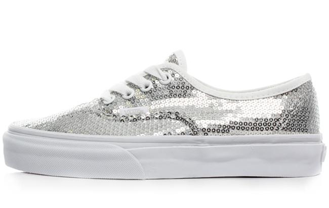 silver glitter slip on vans