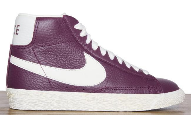 purple leather nike blazers