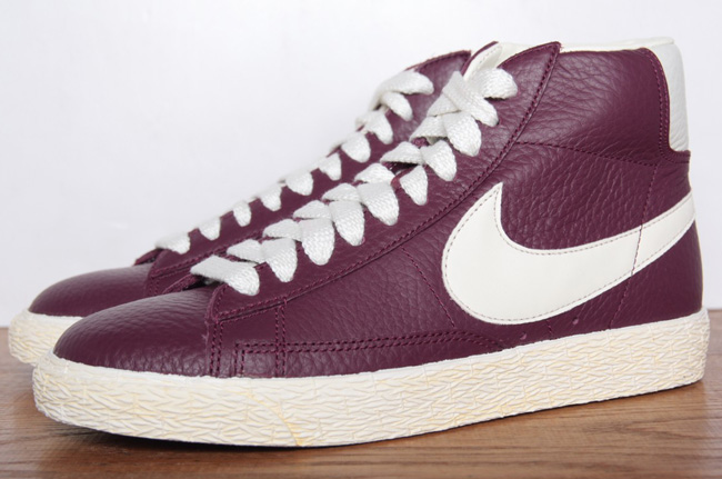 nike blazer mid leather bordeaux sail gum med brown