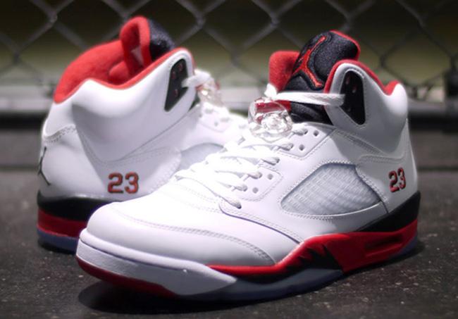 online retailer 65775 f5539 get jordan 5 red white black grey tongue 552a8 b65e6