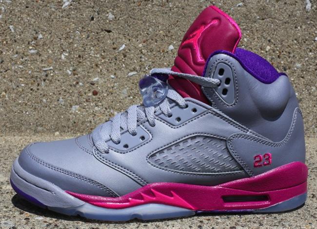 3f9811c41358 australia girls air jordan 5 cement grey pink foil raspberry red style  440892 9fece ae493