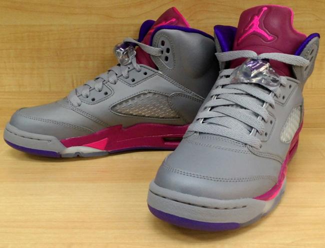 46511bec3607 ... Girls Air Jordan 5 Cement GreyPink Foil-Raspberry Red Style 440892- 06  Nike ...