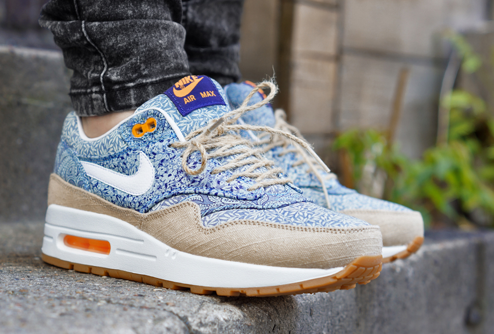 sports shoes 0588e 7d691 ... qs womens mens blue recall 8e21e 2d373  cheap on feet liberty x nike  air max 1 linen 80c97 48ad0