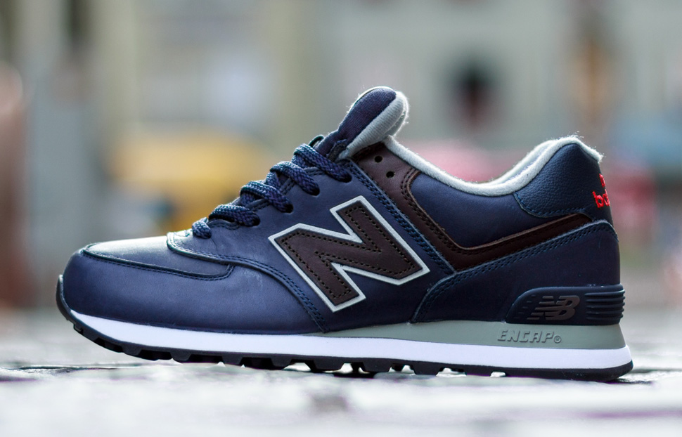 new balance 574 navy blue leather