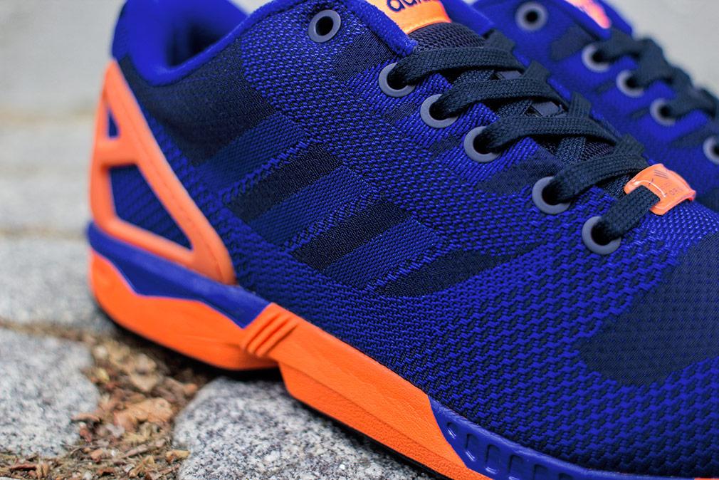 sale retailer f776e c710f wholesale adidas zx flux weave dark blue orange 3d53e e176a
