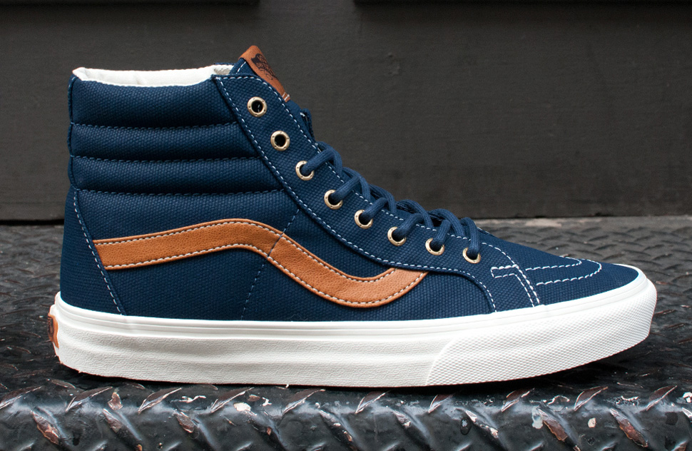 vans sk8 hi canvas dress blue