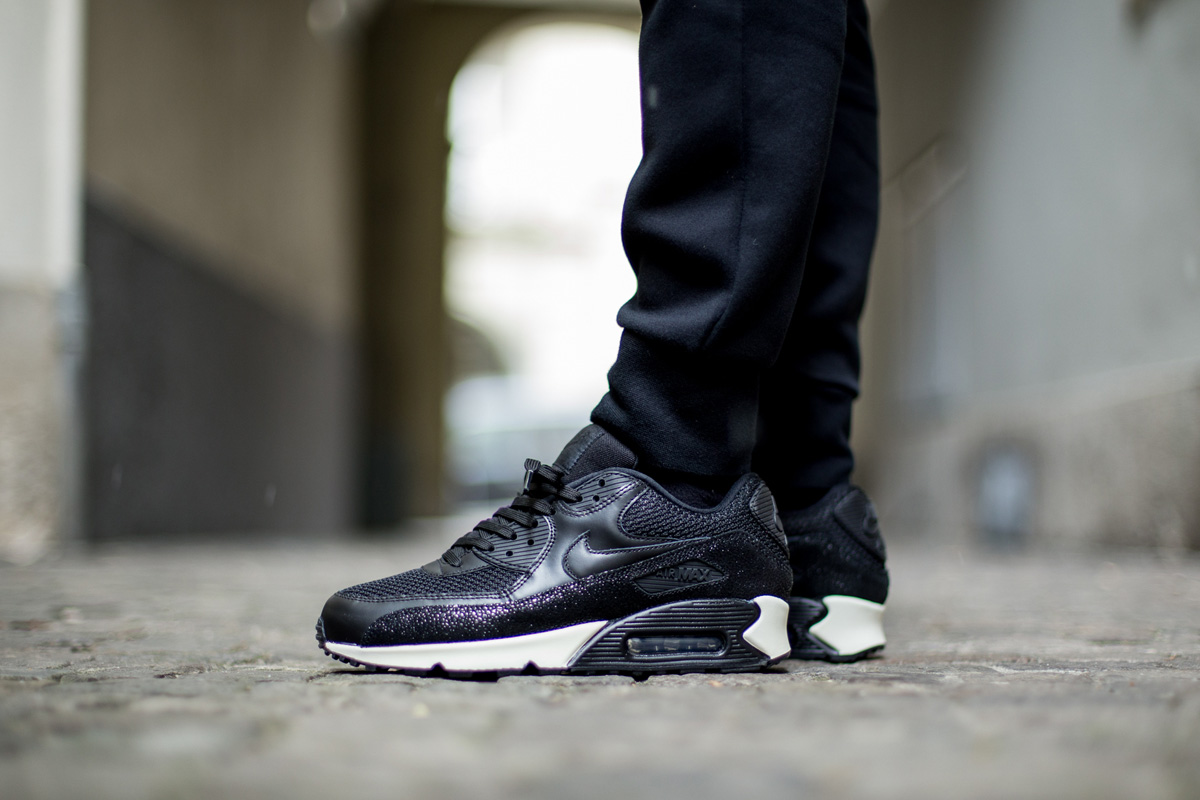 nike air max 90 black leather on feet b91d78478c3f8