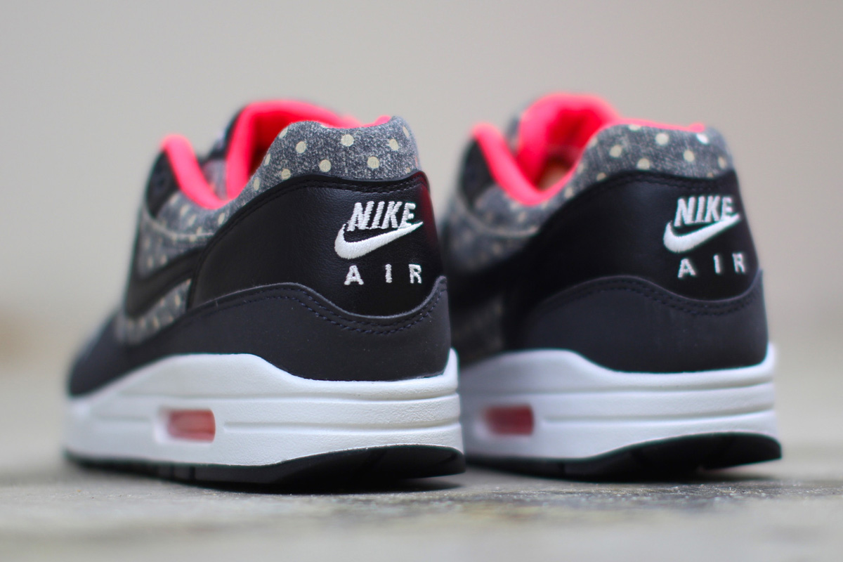 uk availability 1f666 5fed7 Nike Air Max 1 LTR Premium (Polka Dot) Black   Bright Crimson