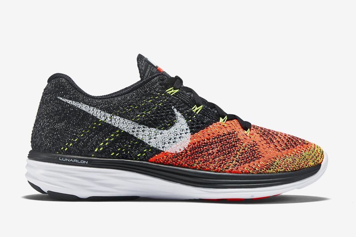 Women's Nike Wmns Flyknit Lunar 3 Black White Hot Lava Volt Sneakers : F68o3258