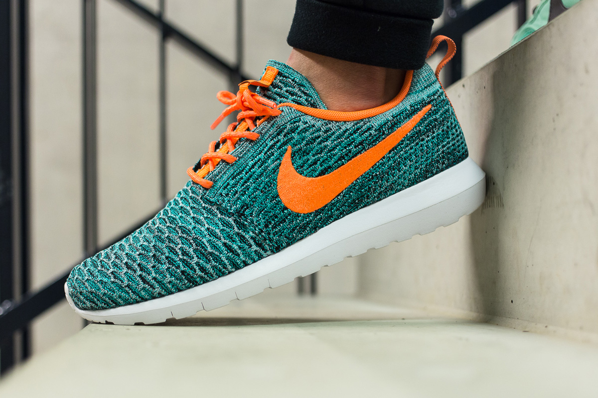 "promo code 8f7ef 50880 Nike Flyknit Roshe Run ""Hyper Jade   Total Orangeâ€"
