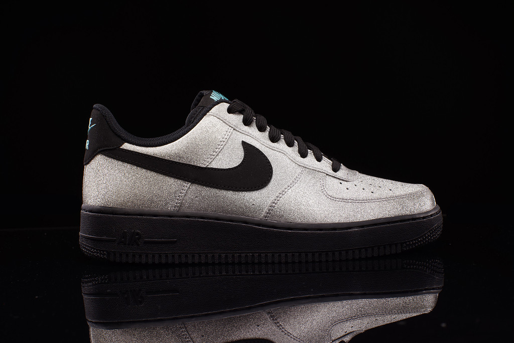 Nike Air Force 1 Bajo Aqua Lv8 Metallic Silver Negro Aqua Bajo Ue Kicks 1abb06