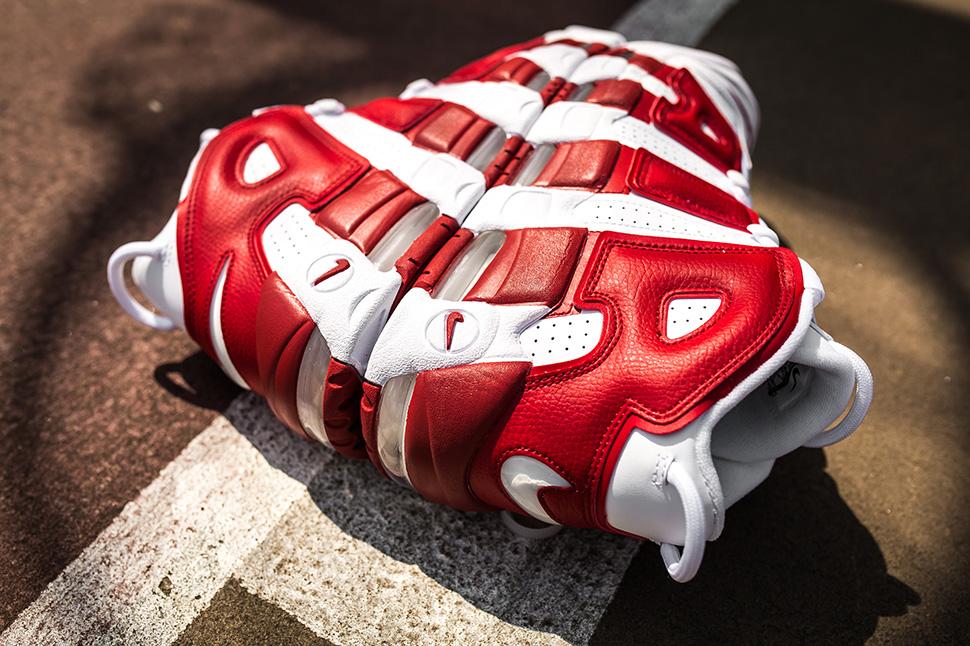 Nike More Uptempo Gym Red