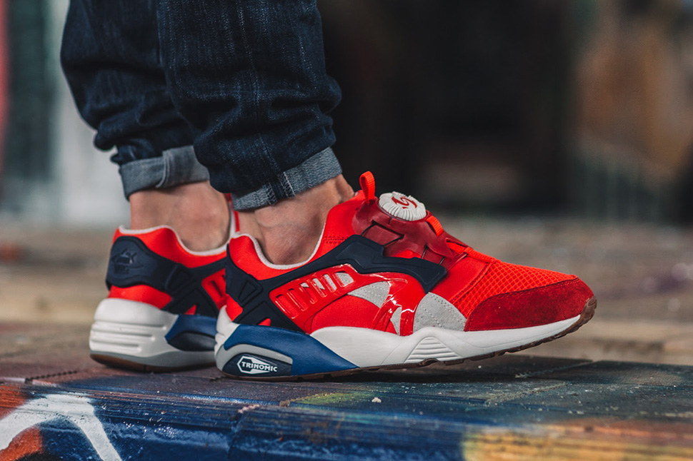 various colors 033ae 7fb0d ... On-Foot Puma Disc Blaze Athletic Puma Disc Blaze Basic Unisex running  shoes White blue red ...