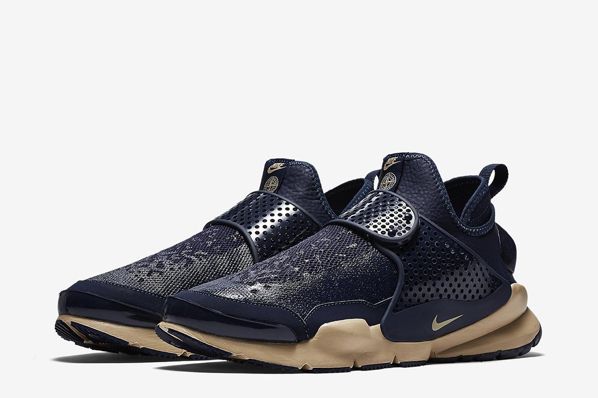 Nike Sock Dart Mid Stone Island Obsidian Sneakers (Obsidian/Light Orewood-Brown)