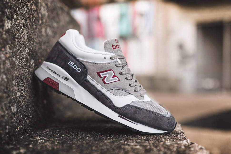 ... hot made in england new balance 1500 in grey white red 21093 bcffe ... 8a573c66e