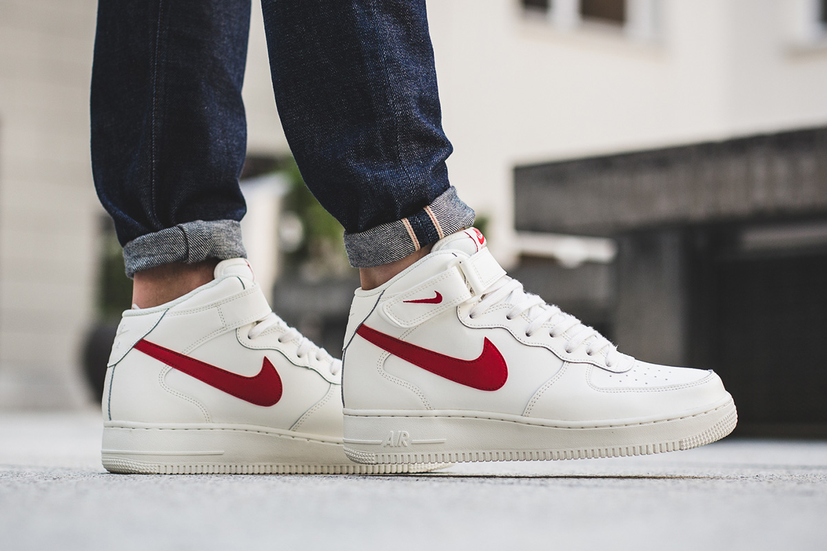 hot nike air force one mid white red 5f096 0bafe