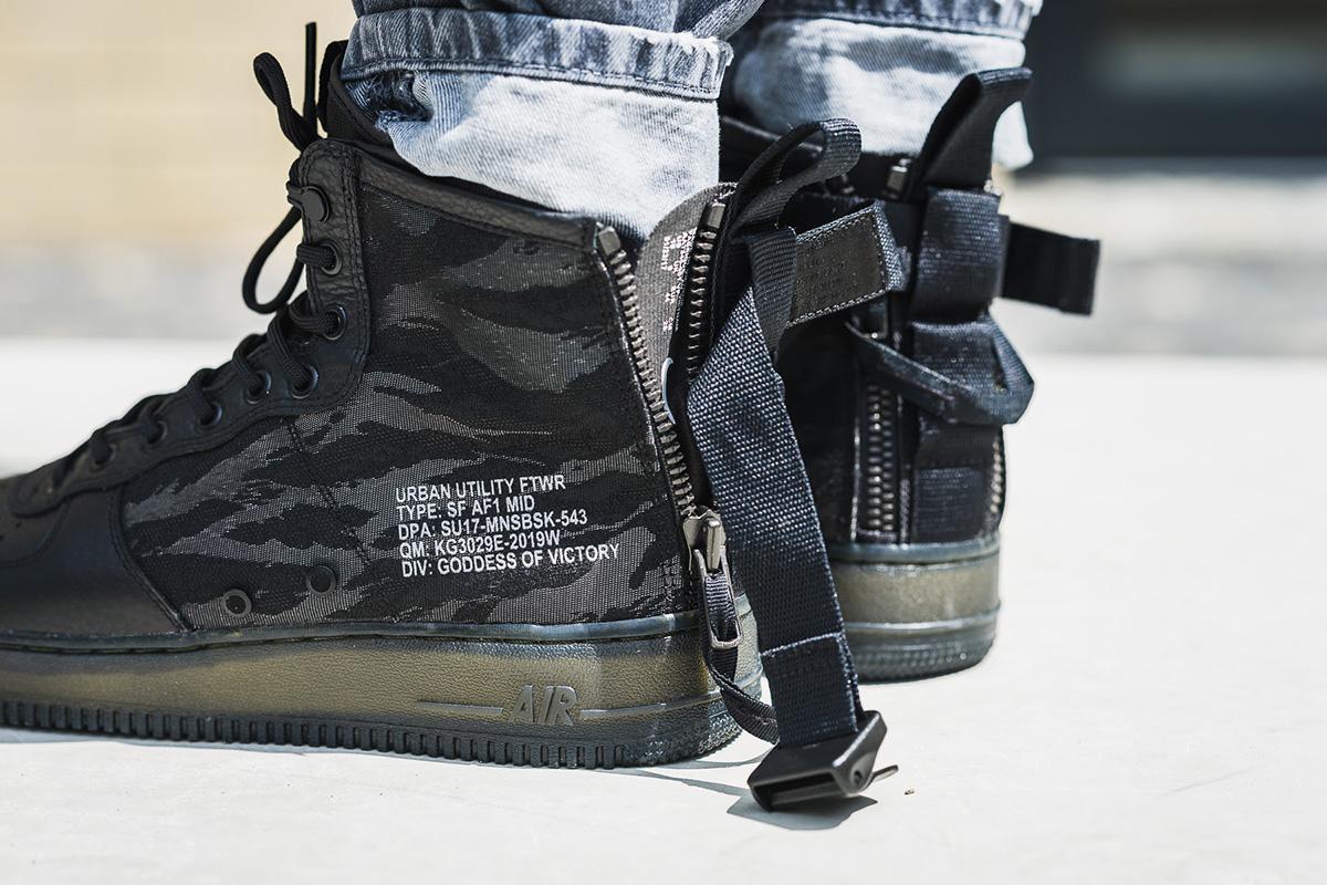 nike sf air force 1 mid black on feet