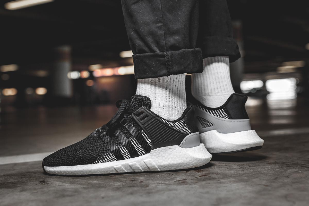 adidas eqt black and white on feet