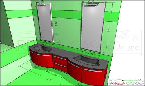 Arredo bagno rosso progettato su misura