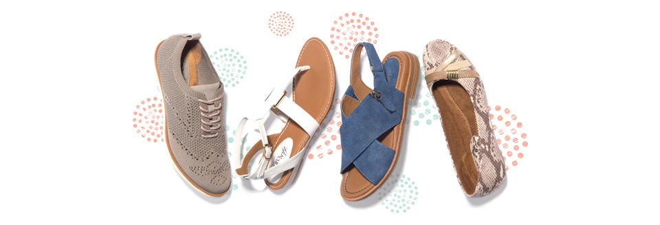 Featured styles: Virida in mist grey, Maddie in white, Darla in Blue, Shaina in sand snake