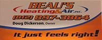 Website for BEAU'S HEATING & AIR LLC