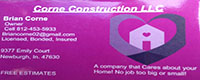 Website for Corne Construction, LLC