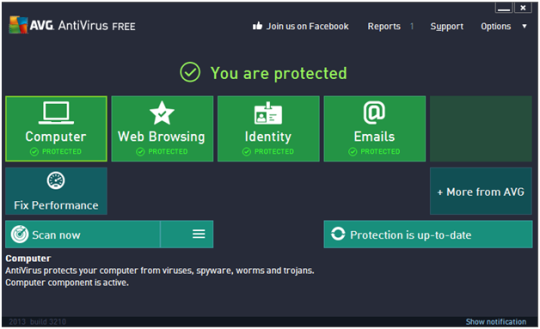 AVG AntiVirus Free Interface Screenshot