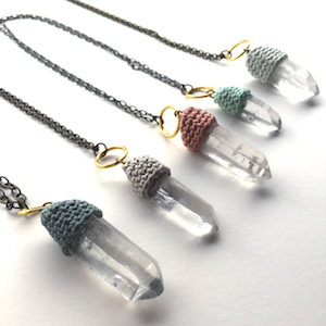 Crystal and Crochet Pendulum Necklaces