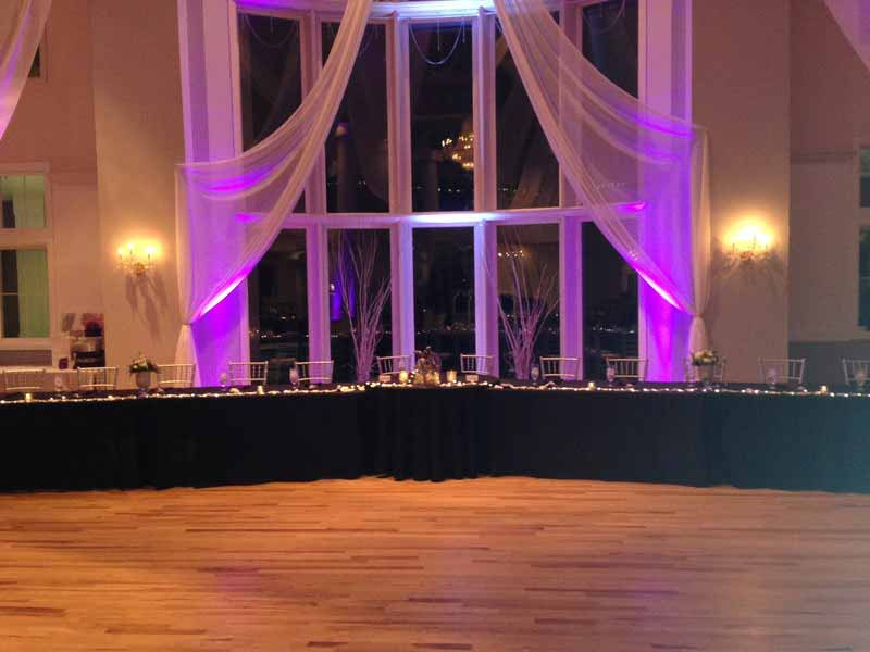 Double tree aurora co wedding lighting