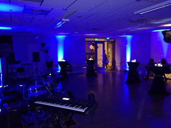 Blue birthday party lighting