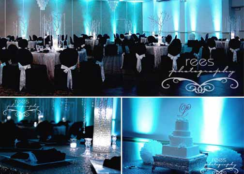 Blue wall lighting wedding event