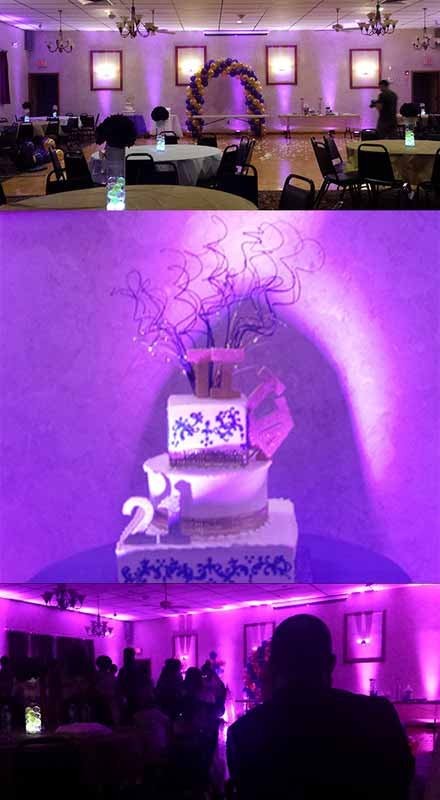 Light up a 2000sq ft function hall