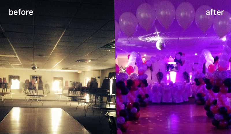 Sweet 16 party lighting before after