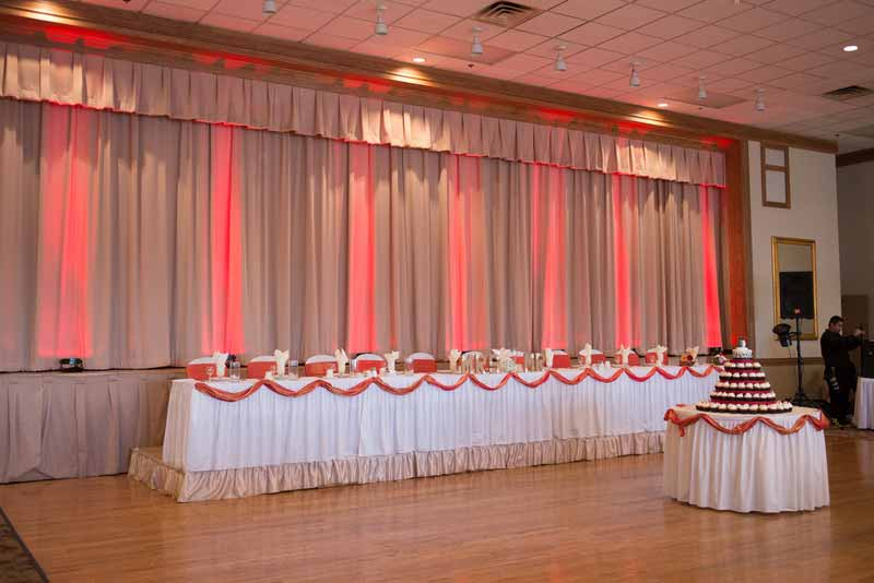 Wedding reception head table lighting