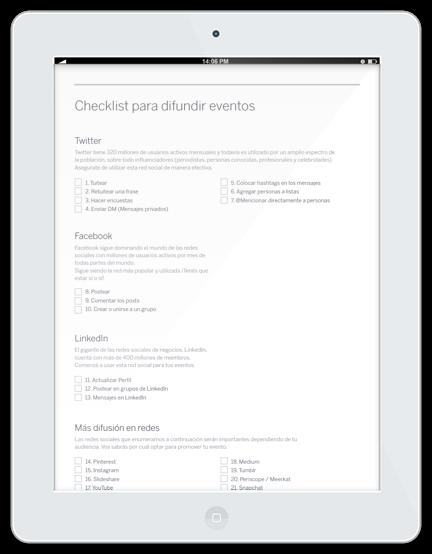 Checklist para difundir eventos