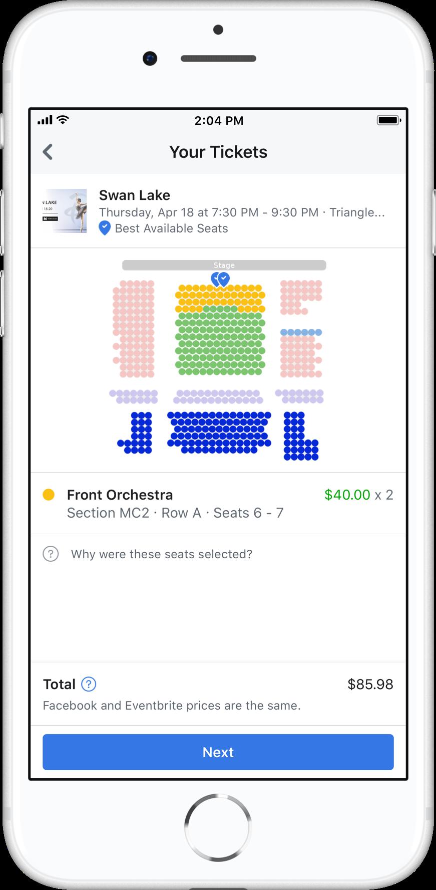 Facebook Ticketkauf mit Sitzplatzreservierung