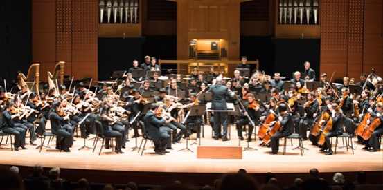 the Juilliard orchestra playing