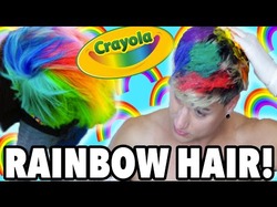 DIY Rainbow Hair! How To Get Rainbow Hair with Crayola Markers!