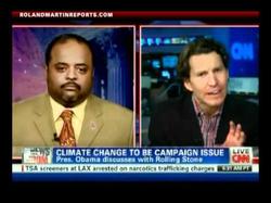 Will Cain and                               Roland Martin                              debate about                               Barack Obama                              declaring                               global warming                              a campaign issue; via                               CNN                              (circa 2012)