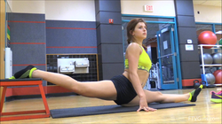 Leah Gotti's fitness video (stretching, jogging)