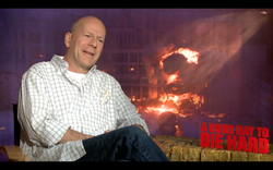 On-screen interview with Jake Hamilton:Bruce Willis Interview for DIE HARD 5: A GOOD DAY TO DIE HARD