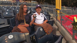Brie Thiele talks with                               San Diego Padres                               fans