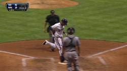 Khris Davis hits his first Major League home run (July 23, 2013)