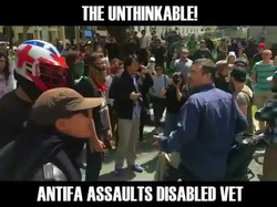 Antifa assaulting a disabled man, pouring his water over him