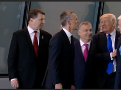 "YouTube Video, ""Raw: Trump Pushes Past Montenegro PM at NATO"", Associated Press, 5/25/17, ~28 sec video.  President Donald Trump appeared to push himself past the prime minister of Montenegro during a tour of NATO's new headquarters Thursday. (May 25)"