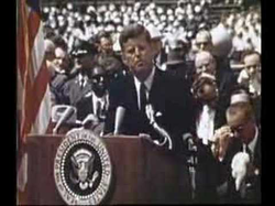 John F. Kennedy giving a speech to choose to go to the moon