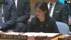 Nikki Haley addresses the                               United Nations Security Council                              during an emergency meeting where officials from Japan, France, and the UK convened to discuss matters on North Korea and its leader, Kim Jong Un.