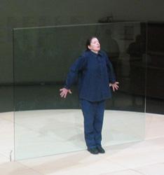 Abramović performing Bruce Nauman's Body Pressure, Guggenheim Museum, 2005
